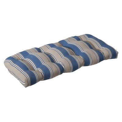Tadley Outdoor Loveseat Cushion Color: Blue/Tan Striped