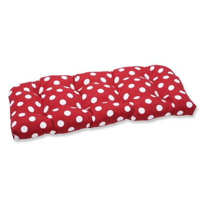 Tadley Outdoor Loveseat Cushion Color: Red/White Polka Dot