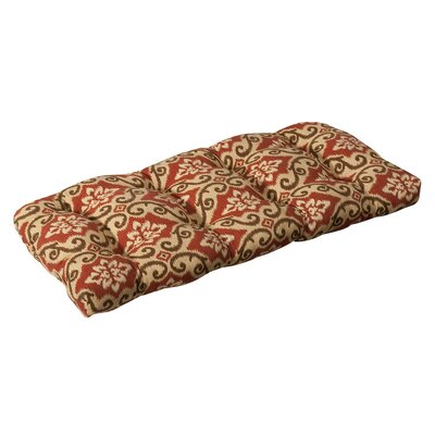 Tadley Outdoor Loveseat Cushion Color: Red/Tan Damask