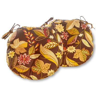 Bistro Outdoor Dining Chair Cushion Size: 15, Fabric: Timberland Floral