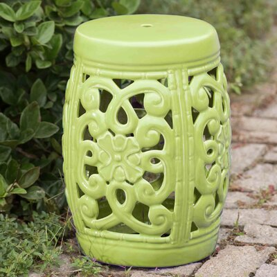 Fairbank Open Scrollwork Ceramic Garden Stool Finish: Lime Green