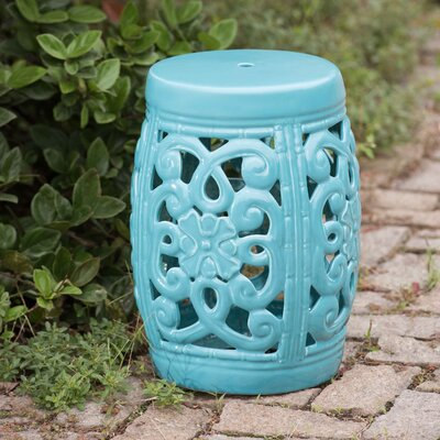 Fairbank Open Scrollwork Ceramic Garden Stool Finish: Turquoise