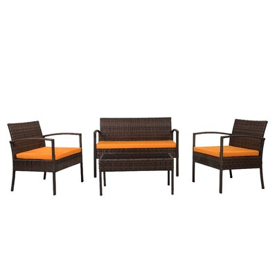 Fayette 4 Piece Wicker Seating Group with Cushion Color: Orange