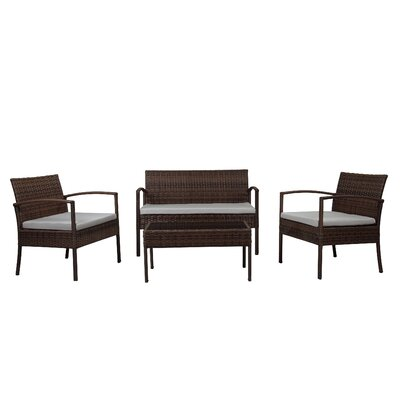 Fayette 4 Piece Wicker Seating Group with Cushion Color: Light Grey