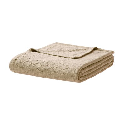 Featherston Fresh Spun Basketweave 100% Cotton Blanket Size: Twin, Color: Cream