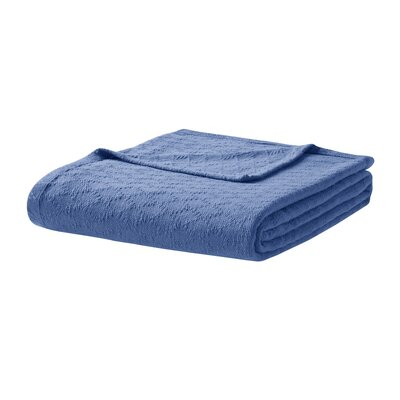 Featherston Fresh Spun Basketweave 100% Cotton Blanket Size: King, Color: Navy