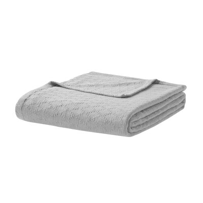 Featherston Fresh Spun Basketweave 100% Cotton Blanket Size: Twin, Color: Gray