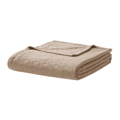 Featherston Fresh Spun Basketweave 100% Cotton Blanket Size: Twin, Color: Taupe