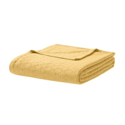 Featherston Fresh Spun Basketweave 100% Cotton Blanket Size: King, Color: Yellow