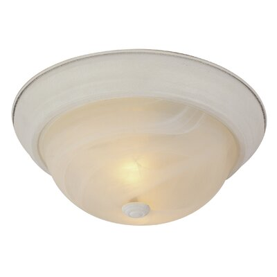 Felton 1-Light Flush Mount Finish: Antique White, Size: 6 H x 15 W x 15 D