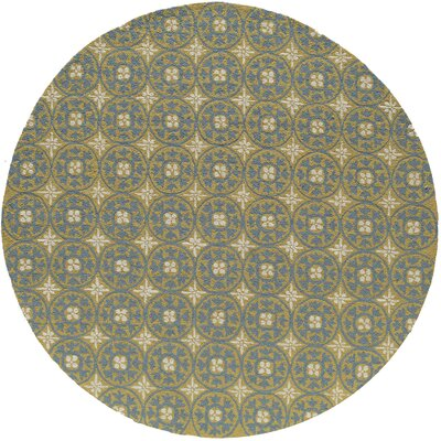 Howland Hand-Hooked Yellow Indoor/Outdoor Area Rug Rug Size: Round 9