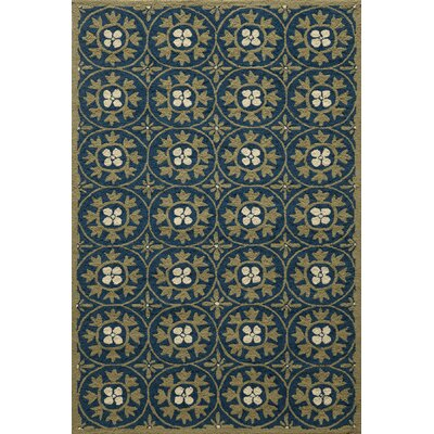 Oliver Hand-Hooked Blue Indoor/Outdoor Area Rug Rug Size: 5 x 8