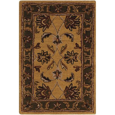 Finnegan Handmade Gold/Brown Area Rug Rug Size: Rectangle 36 x 56