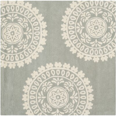 Harger Hand-Tufted Wool Gray/Ivory Area Rug Rug Size: Square 7