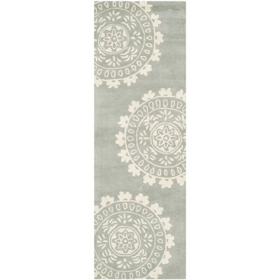 Harger Hand-Tufted Wool Gray/Ivory Area Rug Rug Size: Runner 23 x 9