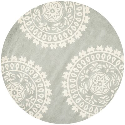 Harger Hand-Tufted Wool Gray/Ivory Area Rug Rug Size: Round 7