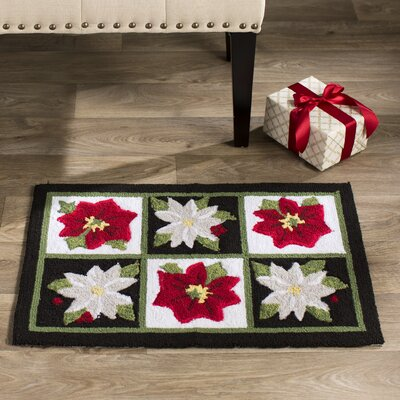 Monahan Red and White Poinsettia Black / White Area Rug