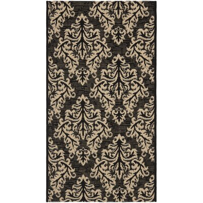 Octavius Black/Cream Indoor/Outdoor Area Rug Rug Size: Rectangle 2 x 37
