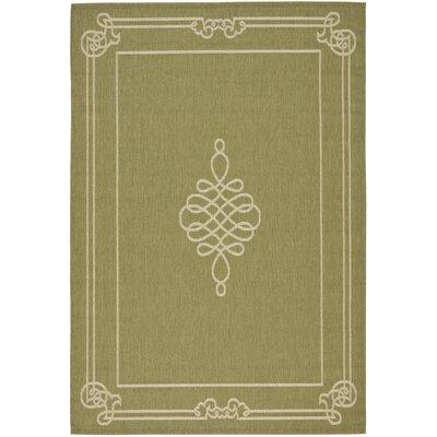Octavius Green/Creme Indoor/Outdoor Rug Rug Size: 53 x 77