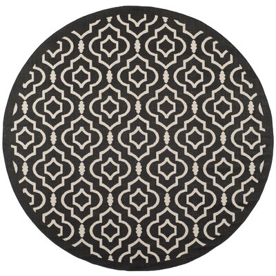 Octavius Black/Beige Indoor/Outdoor Area Rug Rug Size: Round 710