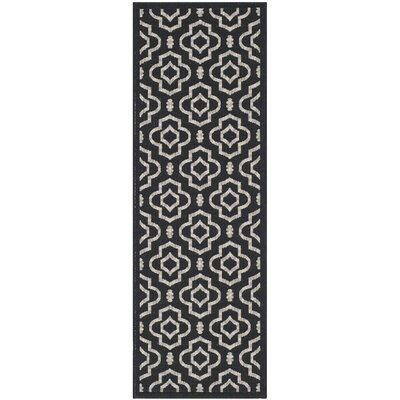 Alderman Black/Beige Outdoor Area Rug II Rug Size: Runner 23 x 10