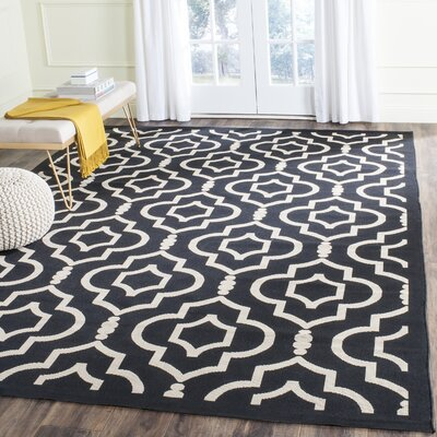 Octavius Black/Beige Indoor/Outdoor Area Rug Rug Size: Rectangle 53 x 77