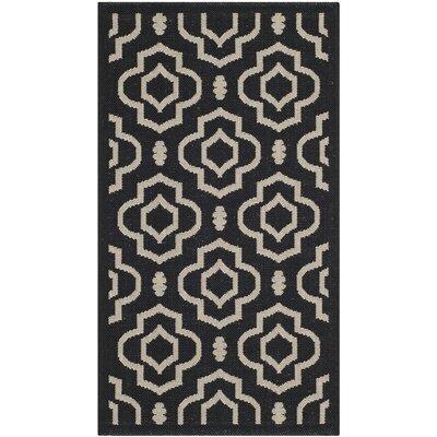 Alderman Black/Beige Outdoor Area Rug II Rug Size: 53 x 77