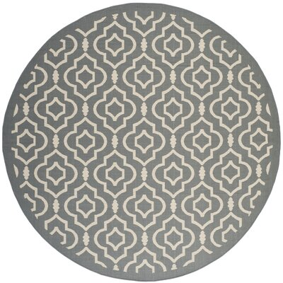 Octavius Anthracite/Beige Indoor/Outdoor Area Rug Rug Size: Round 710