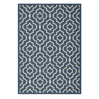 Octavius Navy/Beige Indoor/Outdoor Area Rug Rug Size: Rectangle 53 x 77
