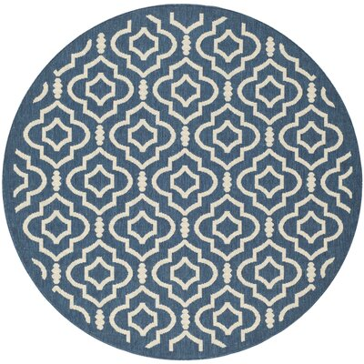 Octavius Navy/Beige Indoor/Outdoor Area Rug Rug Size: Round 53