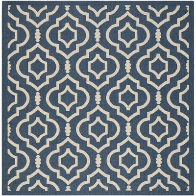 Octavius Navy/Beige Indoor/Outdoor Area Rug Rug Size: Square 6'7