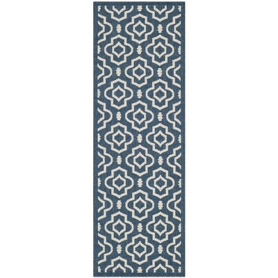 Alderman Blue/Ivory Outdoor Area Rug Rug Size: Runner 23 x 67