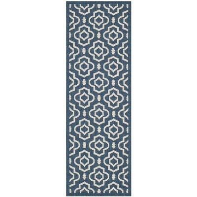 Alderman Blue/Ivory Outdoor Area Rug Rug Size: Runner 27 x 5