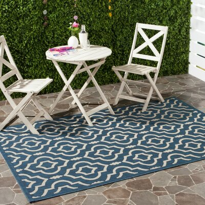 Alderman Blue/Ivory Outdoor Area Rug Rug Size: 53 x 77