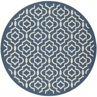 Alderman Blue/Ivory Outdoor Area Rug Rug Size: Round 53