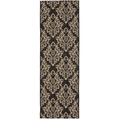 Alderman Black/Creme Outdoor Rug Rug Size: Runner 23 x 8