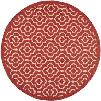 Octavius Red/Bone Outdoor Rug Rug Size: Round 710