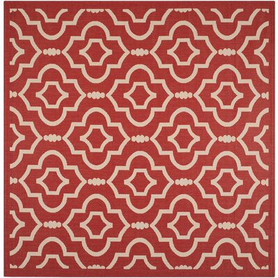 Octavius Red/Bone Outdoor Rug Rug Size: Square 710