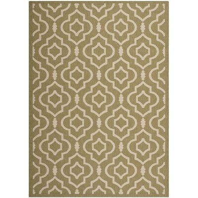 Octavius Green/Beige Indoor/Outdoor Area Rug Rug Size: 53 x 77