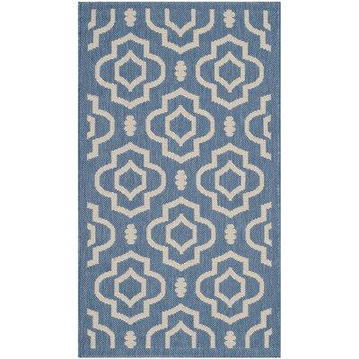 Alderman Blue/Beige Outdoor Area Rug Rug Size: Runner 23 x 10