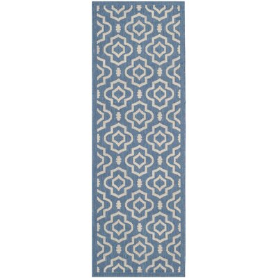 Octavius Blue/Beige Outdoor Area Rug Rug Size: Rectangle 27 x 5
