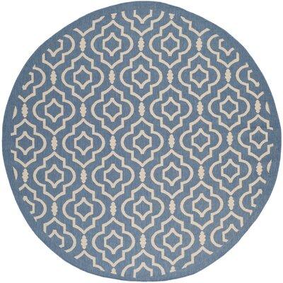 Octavius Blue/Beige Outdoor Area Rug Rug Size: Round 710