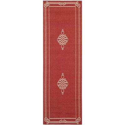 Octavius Red Outdoor Rug Rug Size: Runner 27 x 82