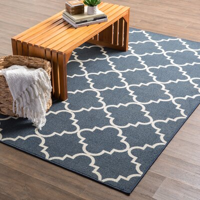 Hanley Navy And White Area Rug Rug Size: Rectangle 6 x 9