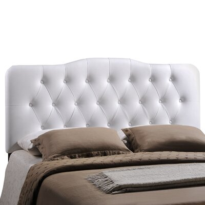 Minneapolis Upholstered Panel Headboard Size: Queen, Upholstery: White