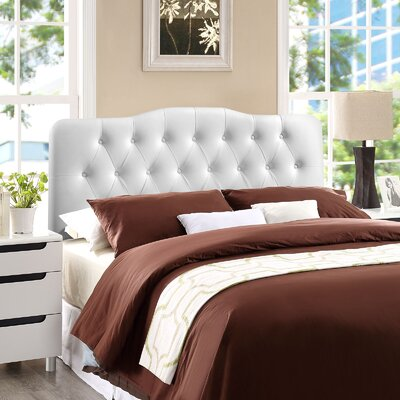 Minneapolis Upholstered Panel Headboard Size: Full, Upholstery: White