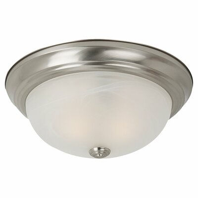 Hartford 1-Light Flush Mount Finish: Brushed Nickel, Bulb Type: 100W A-19 Medium