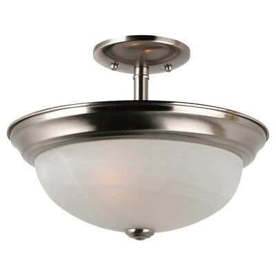 Hartford 2-Light Semi Flush Mount Bulb Type: 100W Medium, Finish: Brushed Nickel