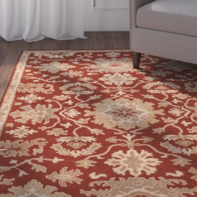 Willard Burgundy/Beige Area Rug Rug Size: Rectangle 76 x 96