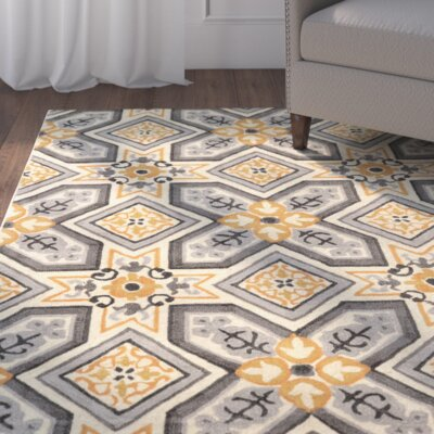 Mugge Hand-Tufted Gray/Gold Area Rug Rug Size: 8 x 10